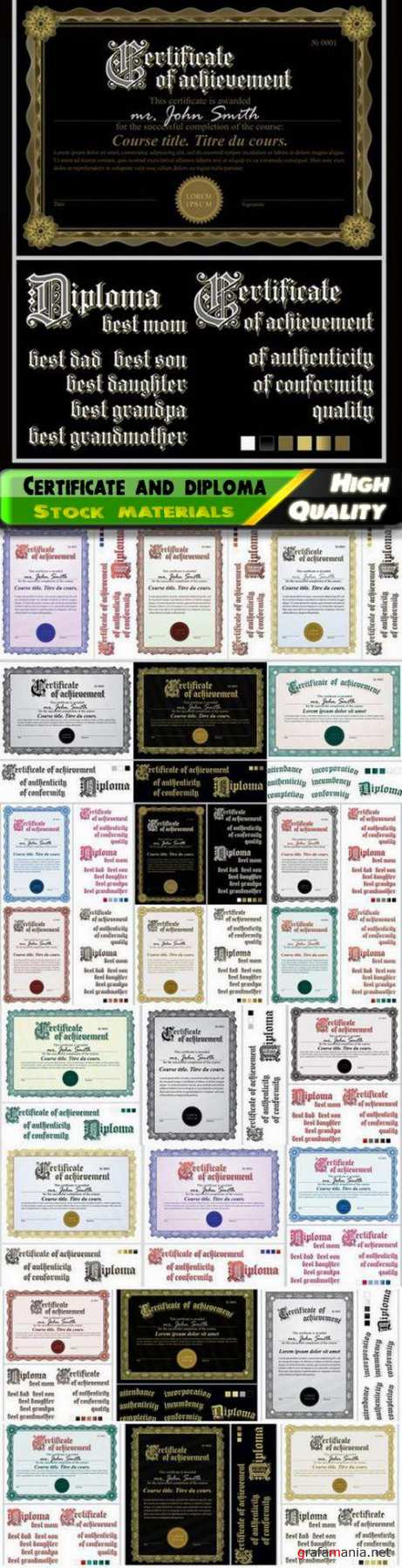 Certificate and diploma template with guilloche frame 25 Eps
