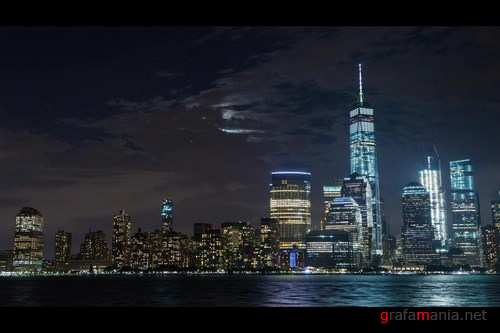 Lower Manhattan with Moon Rise New York City - Stock Footage