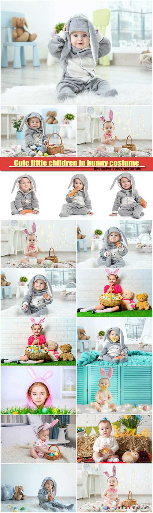 Cute little children in bunny costume, Easter holidays