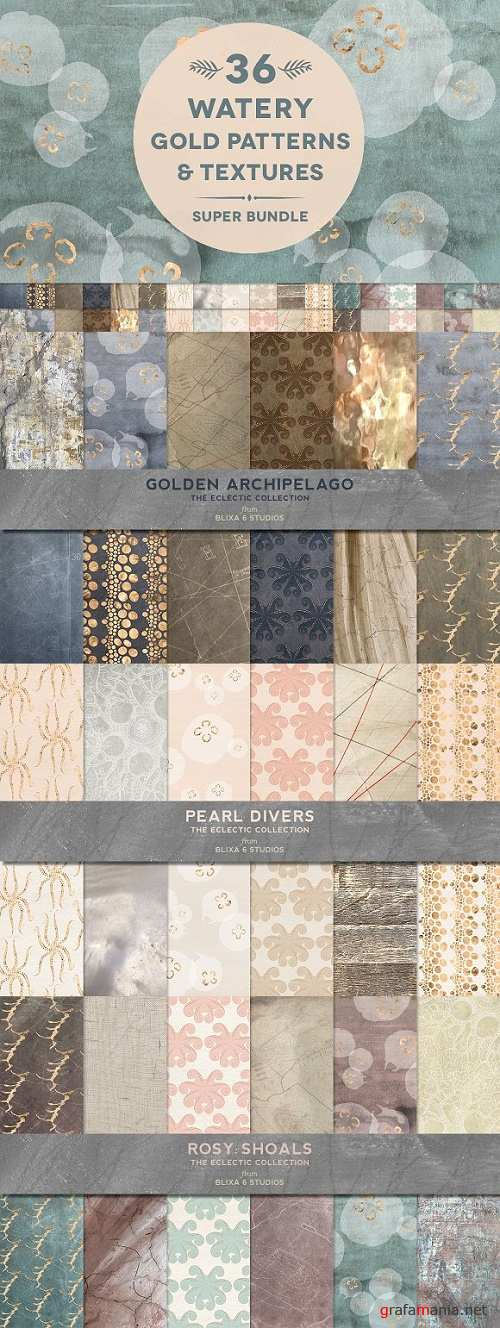 36 Watery Gold Patterns & Textures - 1282471