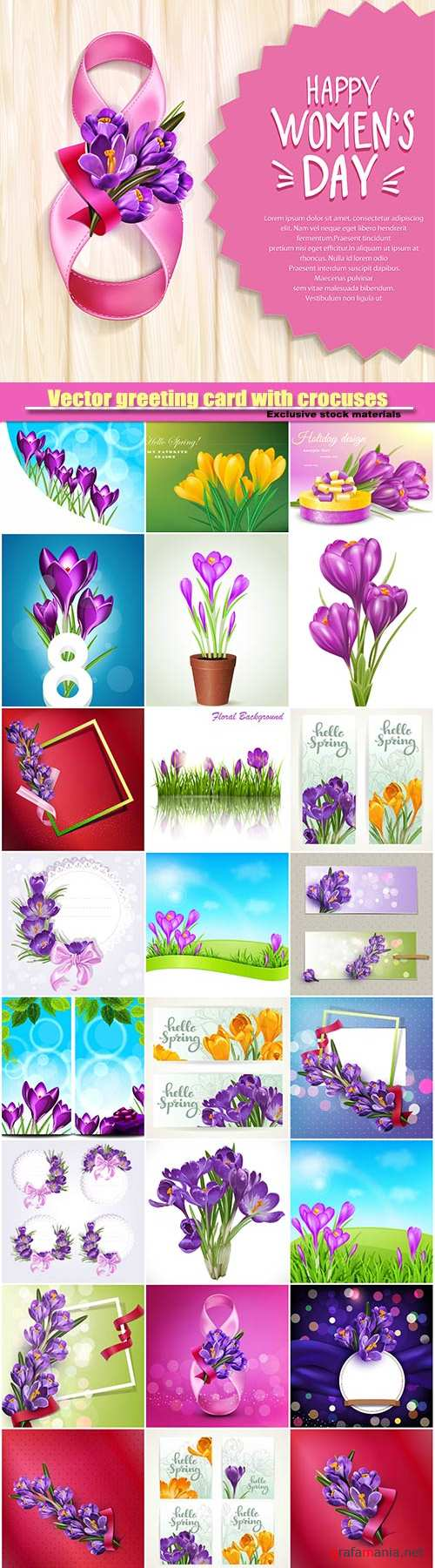 Vector greeting card with crocuses, frame with spring flowers