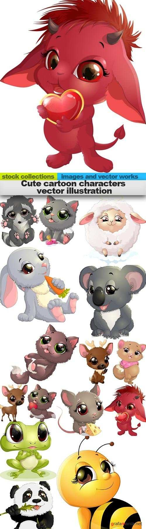 Cute cartoon characters vector illustration, 15 x EPS