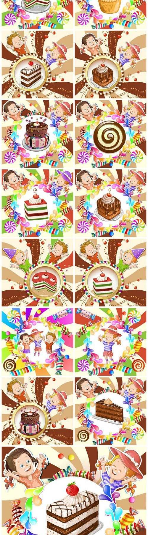 Illustration of kids with cake and candies - Set of 15xEPS, AI Professional Vector Stock