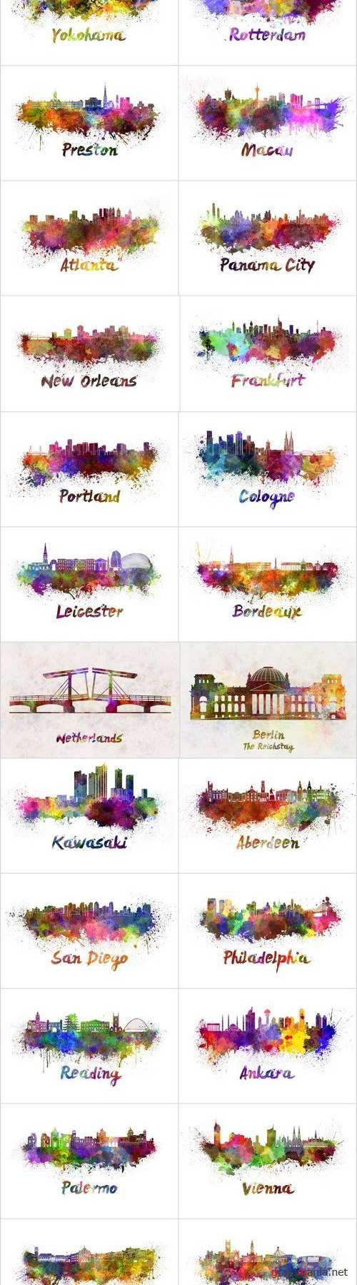 Silhouettes of cities & Skyline in watercolor - Set of 26xUHQ JPEG Professional Stock Images
