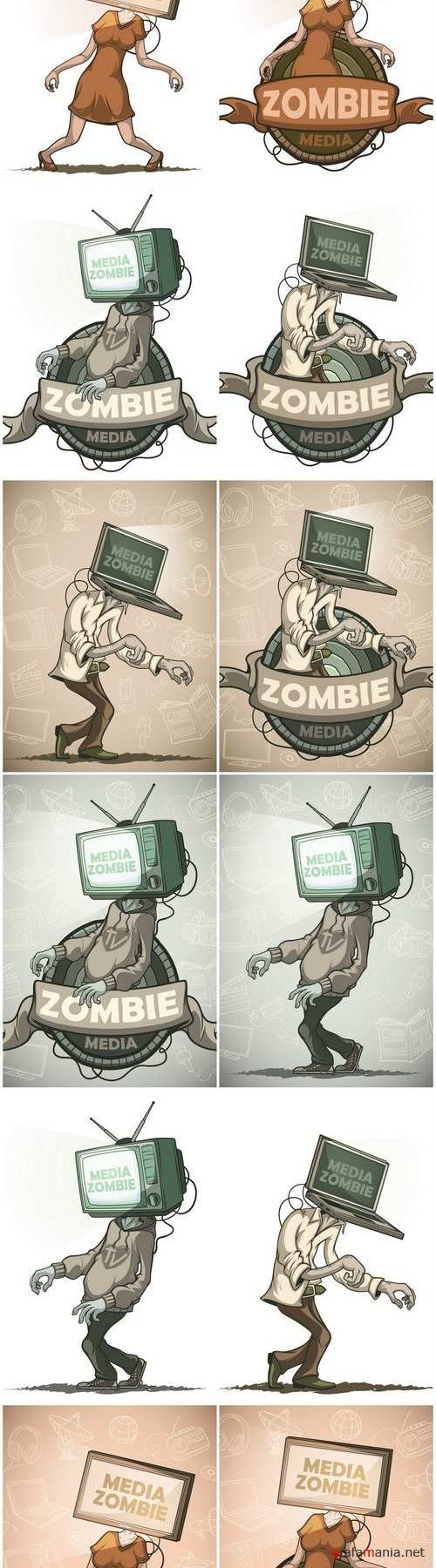 Media zombie - Set of 12xEPS, AI Professional Vector Stock