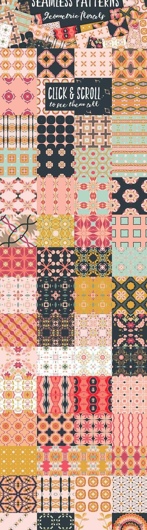Geometric Florals Seamless Patterns - 842396