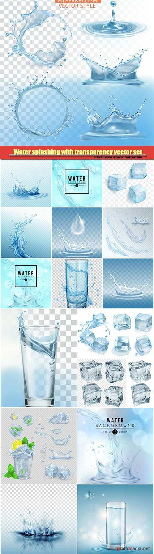 Water splashing with transparency vector set, glass with water, green mint leaves and ice cubes