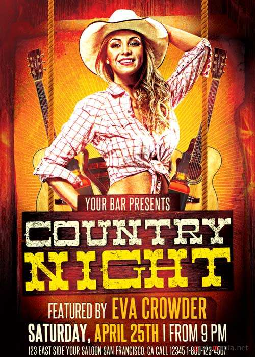 Western Country Night V19 Flyer Template