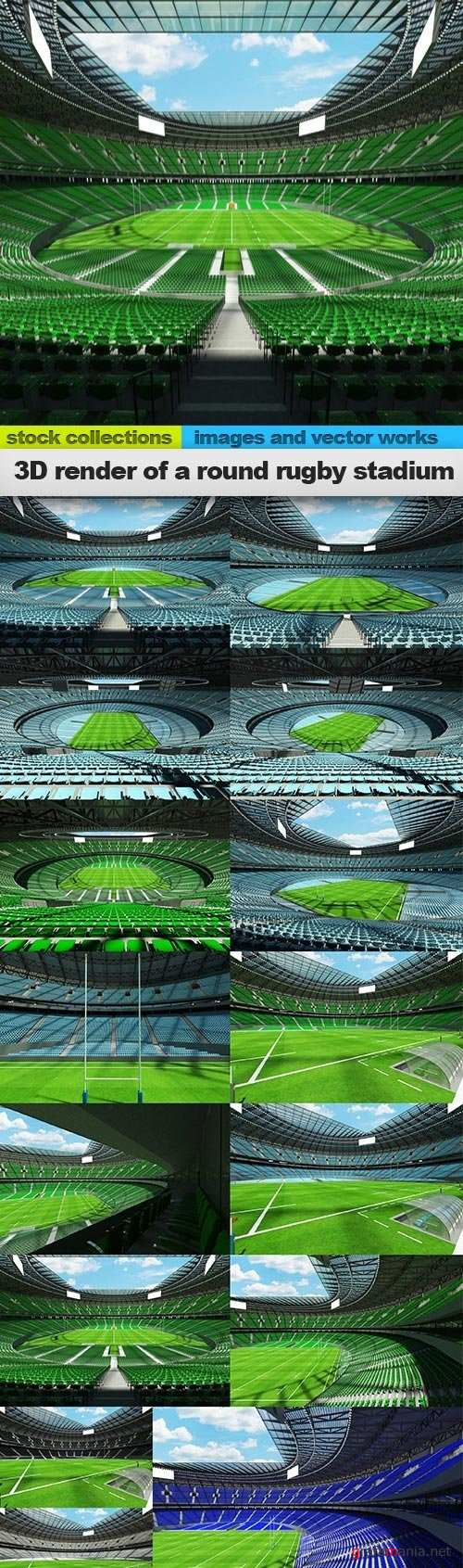 3D render of a round rugby stadium, 15 x UHQ JPEG