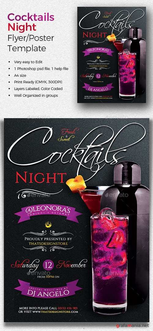 Cocktails Night Flyer Template 19670540