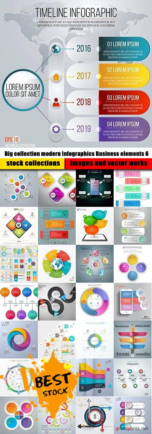 Big collection modern Infographics Business elements 6