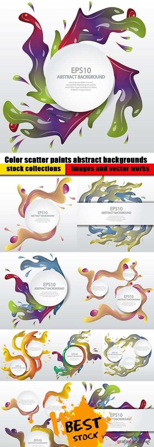 Color scatter paints abstract backgrounds