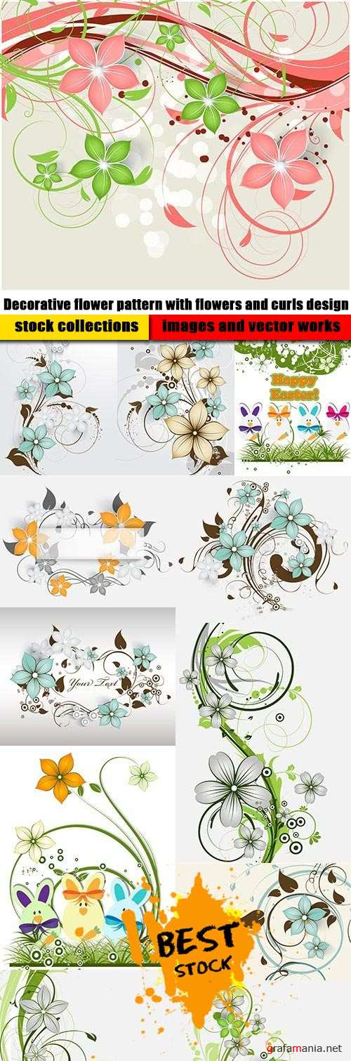 Decorative flower pattern with flowers and curls design