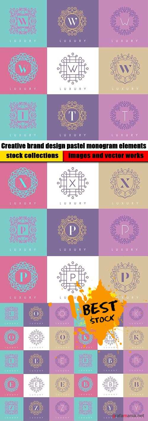 Creative brand design pastel monogram elements