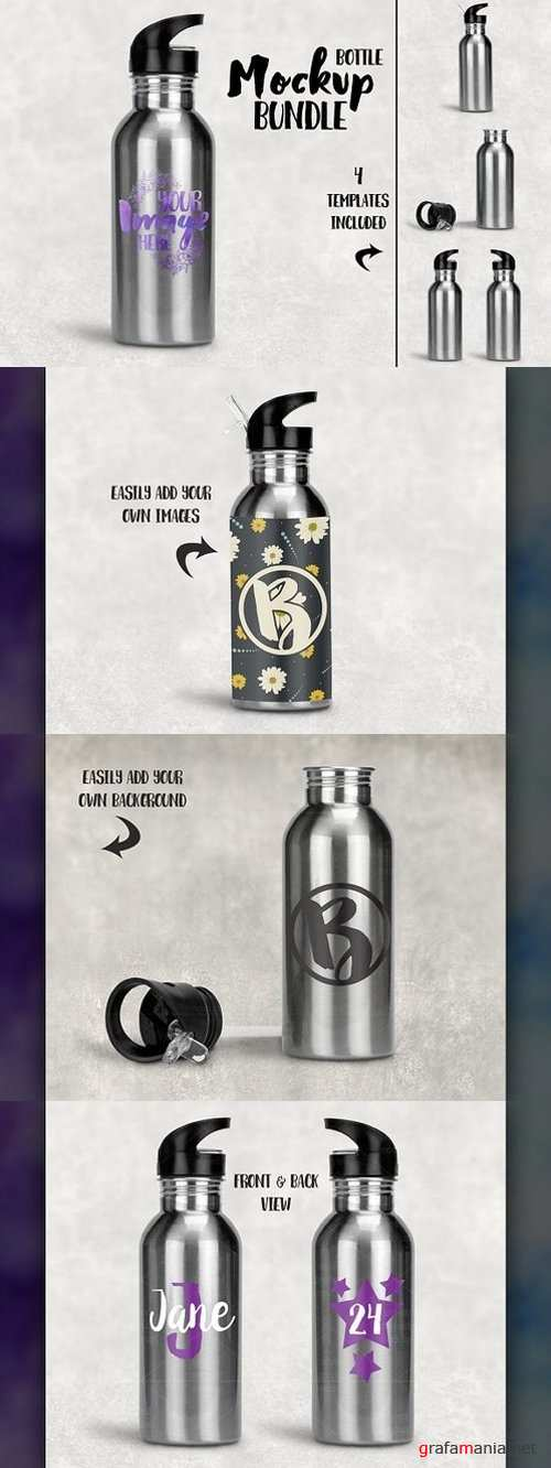 Stainless Steel Water Bottle Mockup 1344469