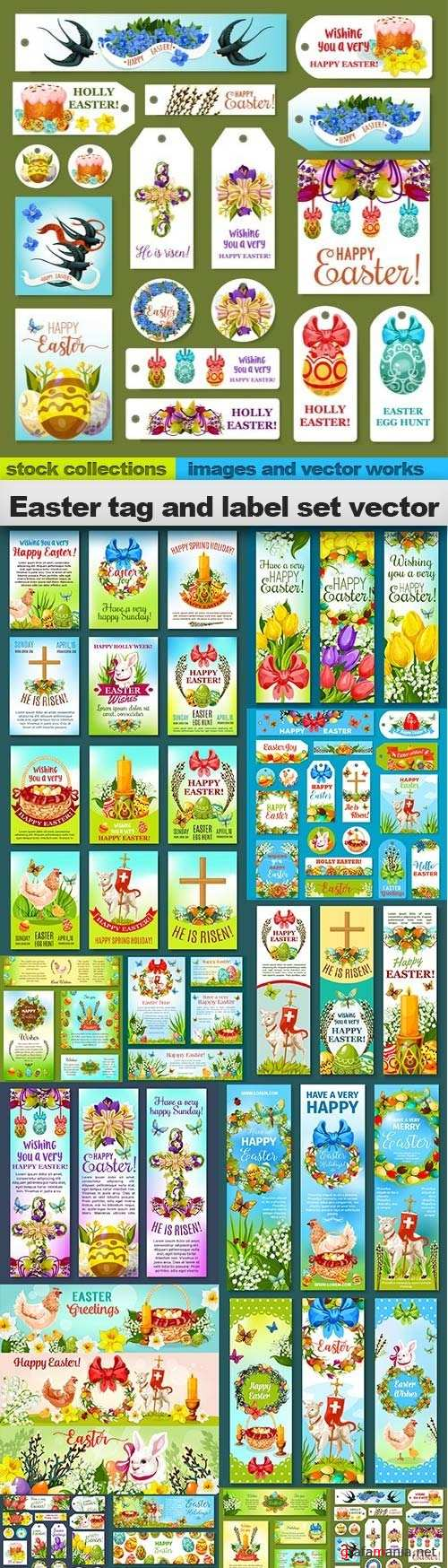 Easter tag and label set vector, 15 x EPS