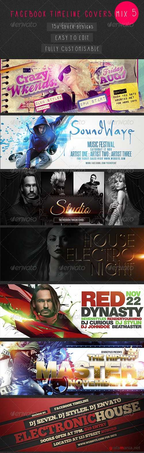 Facebook Timeline Covers Mix 5 - 15 Templates 7388981
