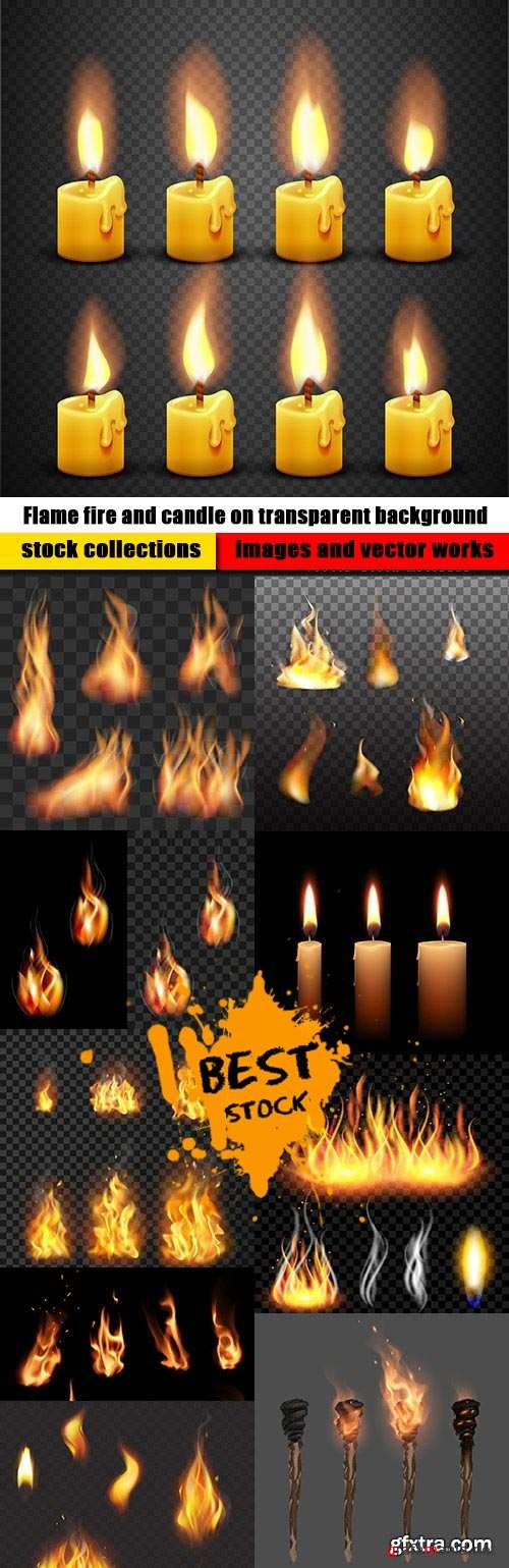 Flame fire and candle on transparent background