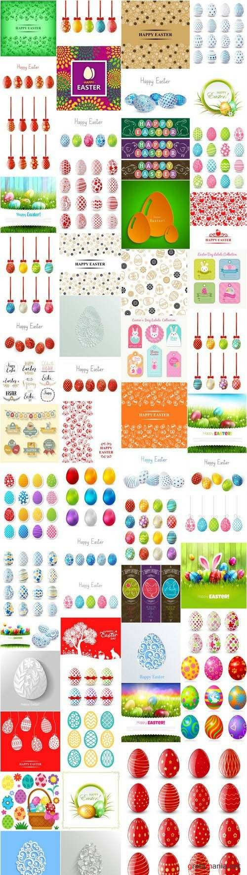 Happy Easter Easter Eggs Collection #2 - 55 Vector