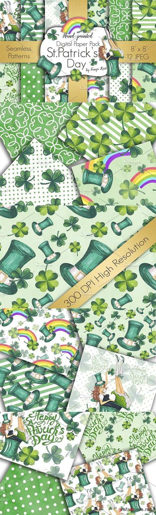 St.Patrick's Day Digital Papers Pack - 1196493