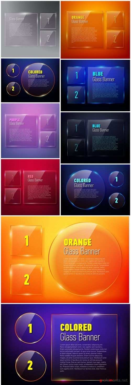 Set Of Glass Banners - 10 Vector