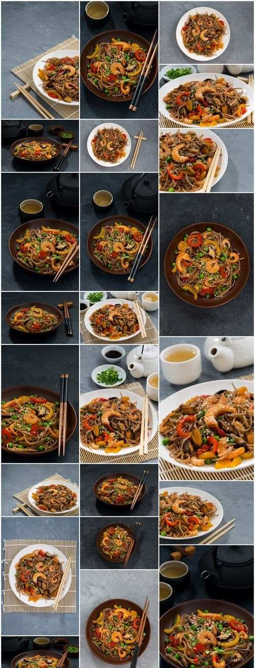 Asian buckwheat noodles with seafood and vegetables - 23xUHQ JPEG