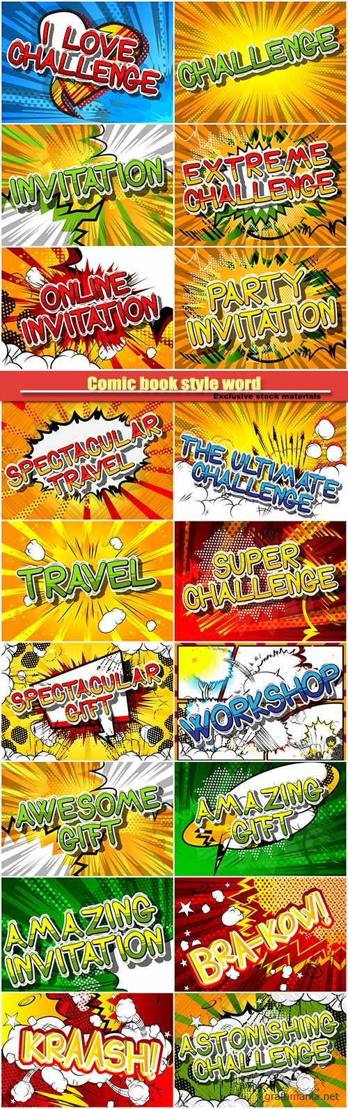 Comic book style word on abstract vector background