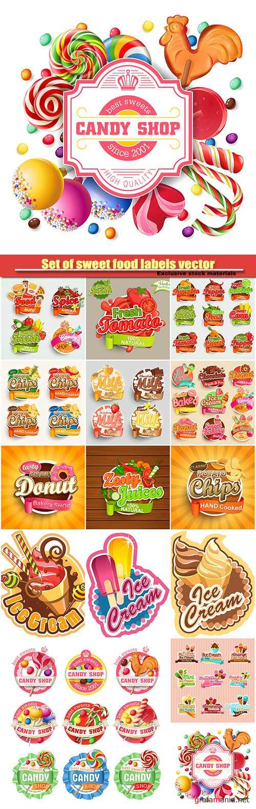 Set of sweet food labels vector illustration for cafe and restaurant menu
