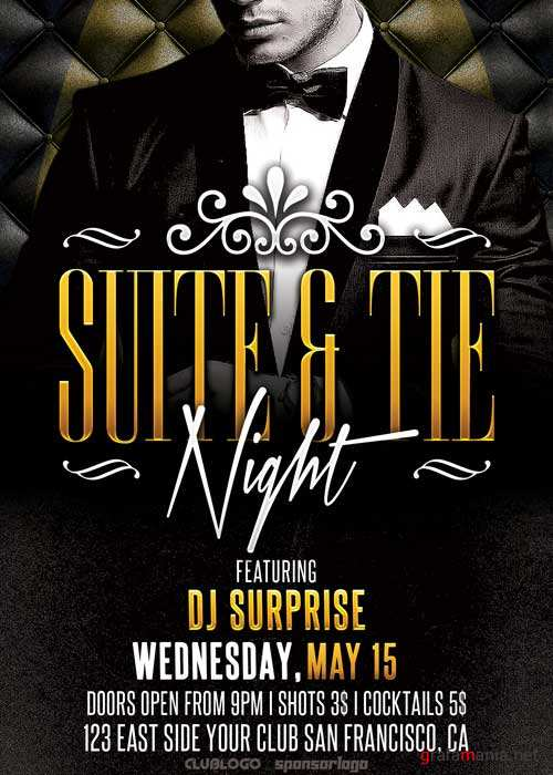 Suite and Tie Party V17 Flyer Template
