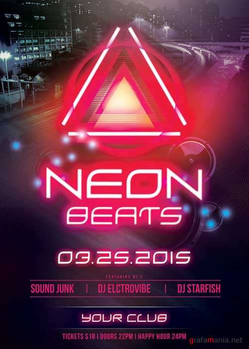 Neon Beats V15 Flyer Template