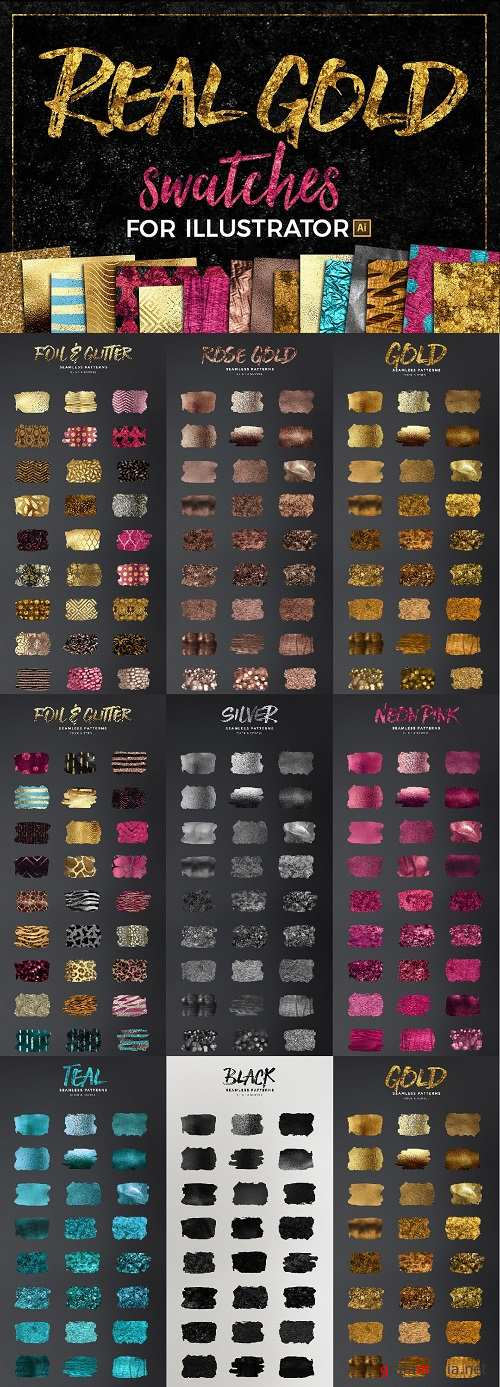 300+ Gold Glitter & Foil Styles for Illustrator