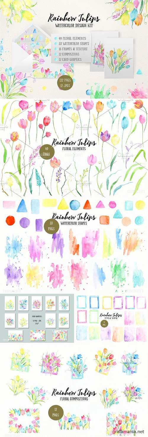 Watercolor Design Kit Rainbow Tulips 1364159