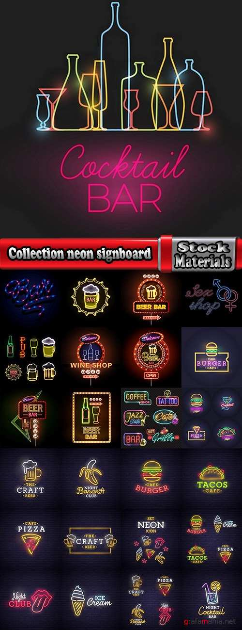 Collection neon signboard bar restaurant store advertising signpost 25 EPS