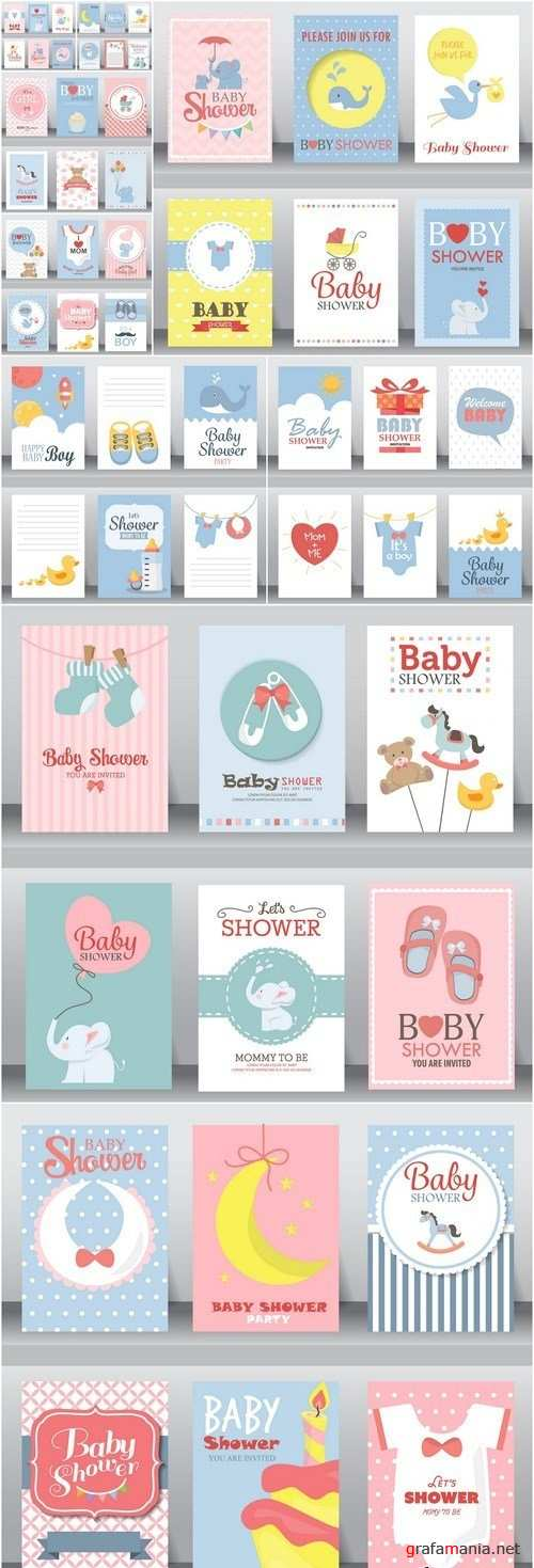 Cute Kid Card Set - 10 Vector