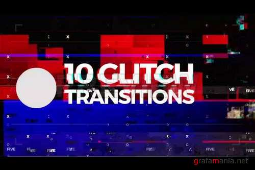 10 Glitch Transitions Stock Motion Graphics