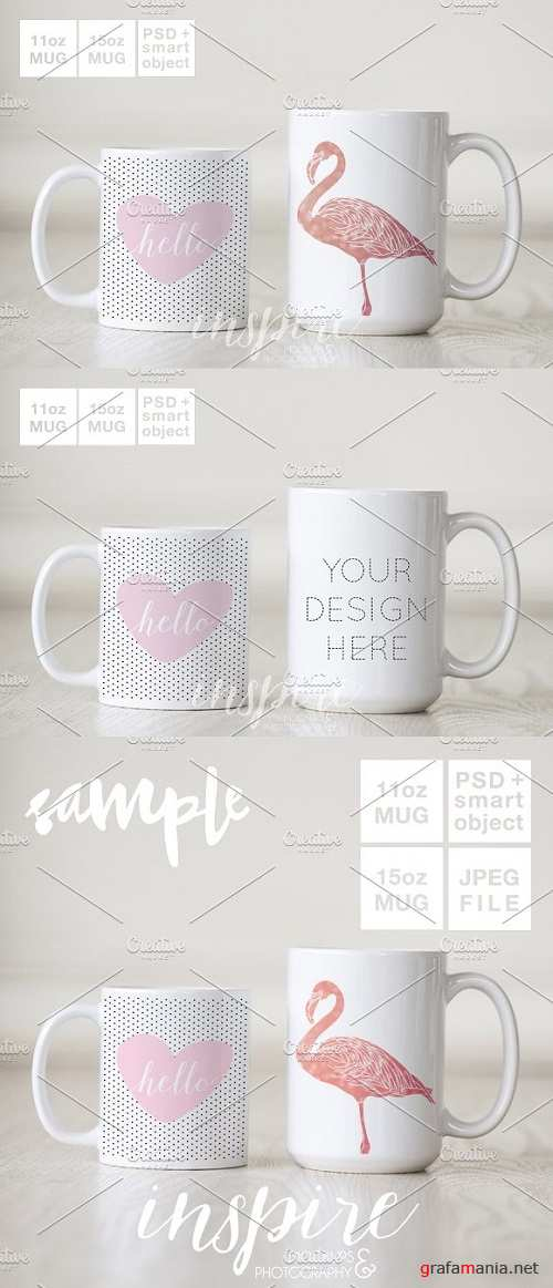 11oz and 15oz Comparision Mug Mockup 1372400