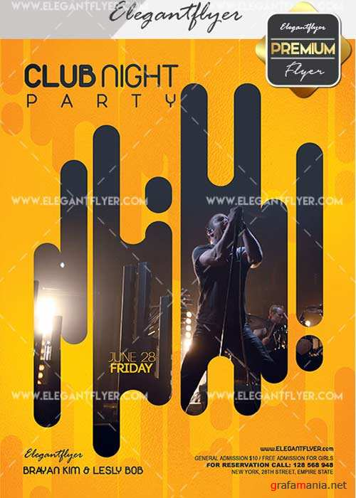 Club Night Party V22 Premium Flyer PSD Template + Facebook Cover
