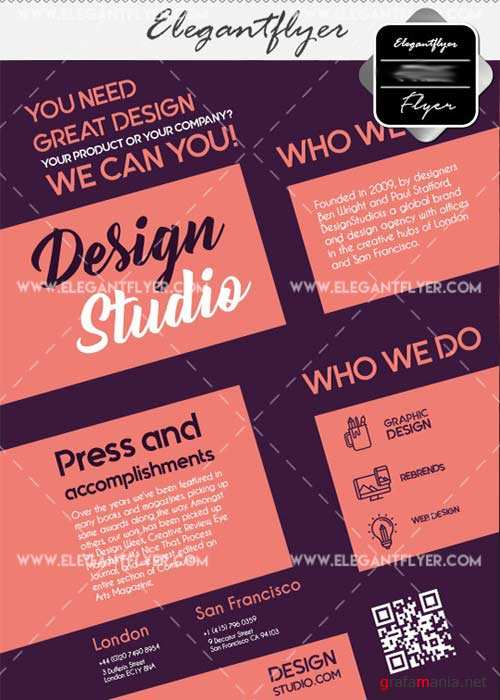 Design studio V7 Flyer PSD Template + Facebook Cover