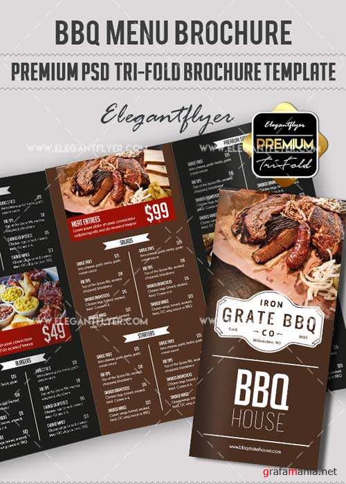 BBQ Menu V16 Premium Tri-Fold PSD Brochure Template Food Menu