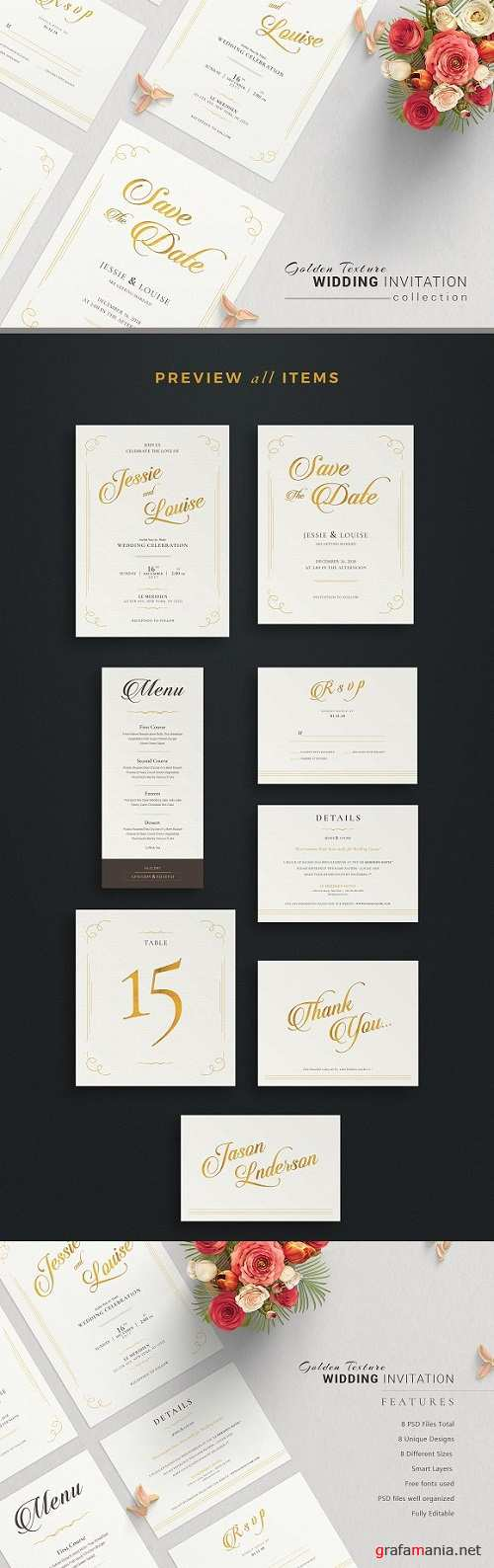 Golden Wedding Invitation Suite 1382312