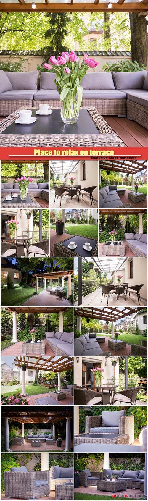 Place to relax on terrace, elegant rattan garden furnitures