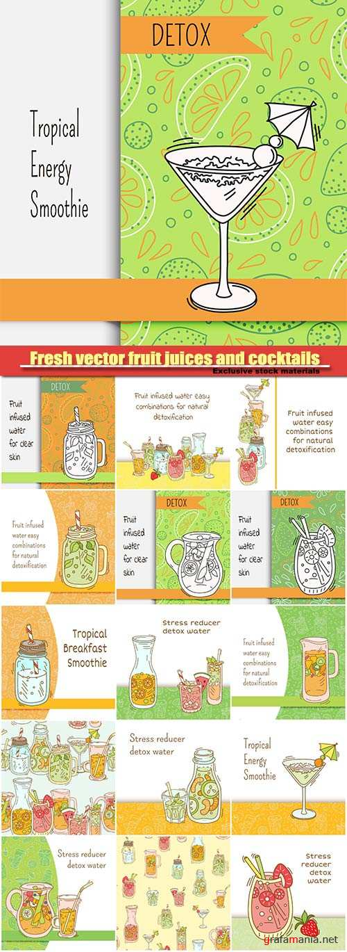 Fresh vector fruit juices and cocktails, detox water for clean, tropical breakfast smoothie, strawberry, green tea lemonade