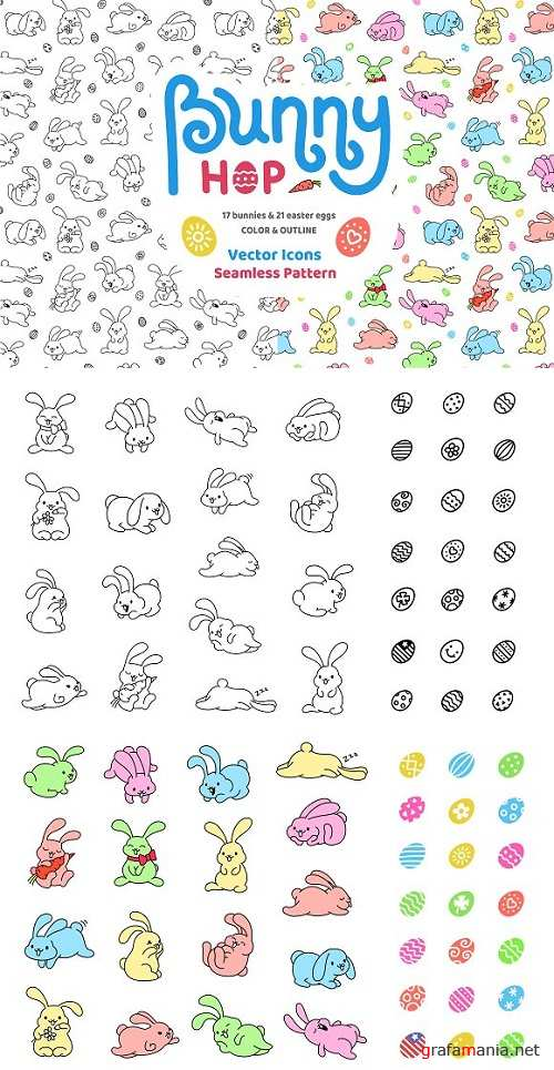 Bunny Hop Icons And Seamless Pattern 1373147