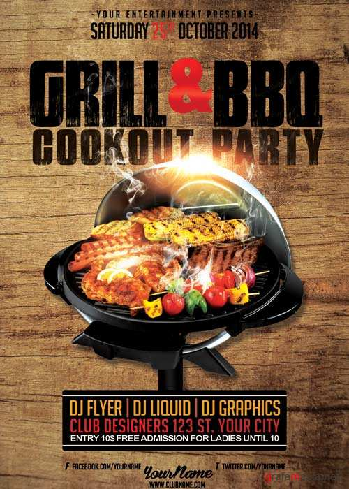 GRILL and BBQ Cookout Party V14 Flyer Template