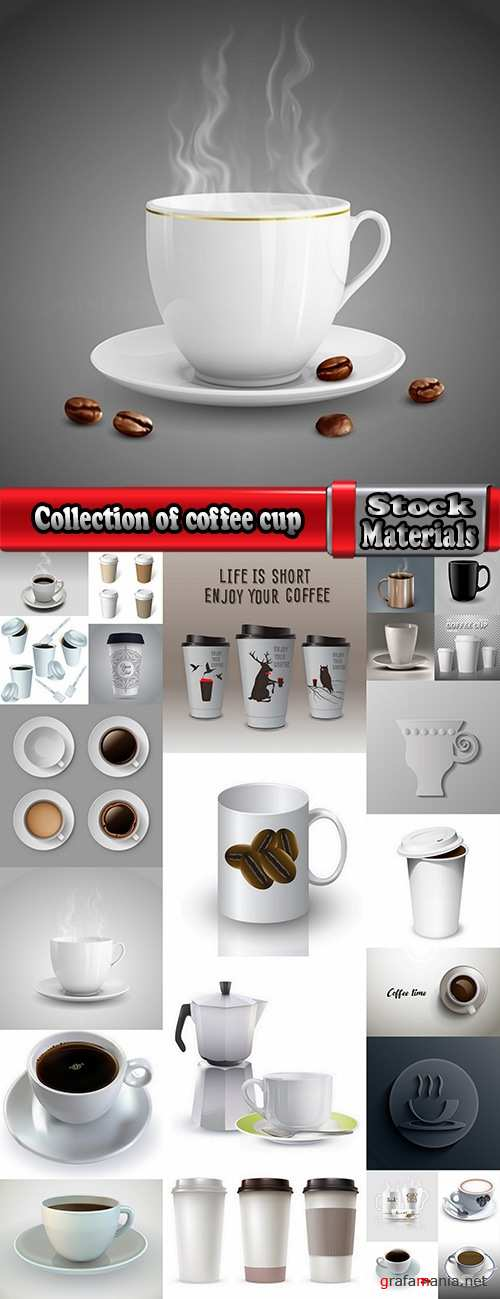Collection of coffee bean cup drink flavor background is 25 EPS