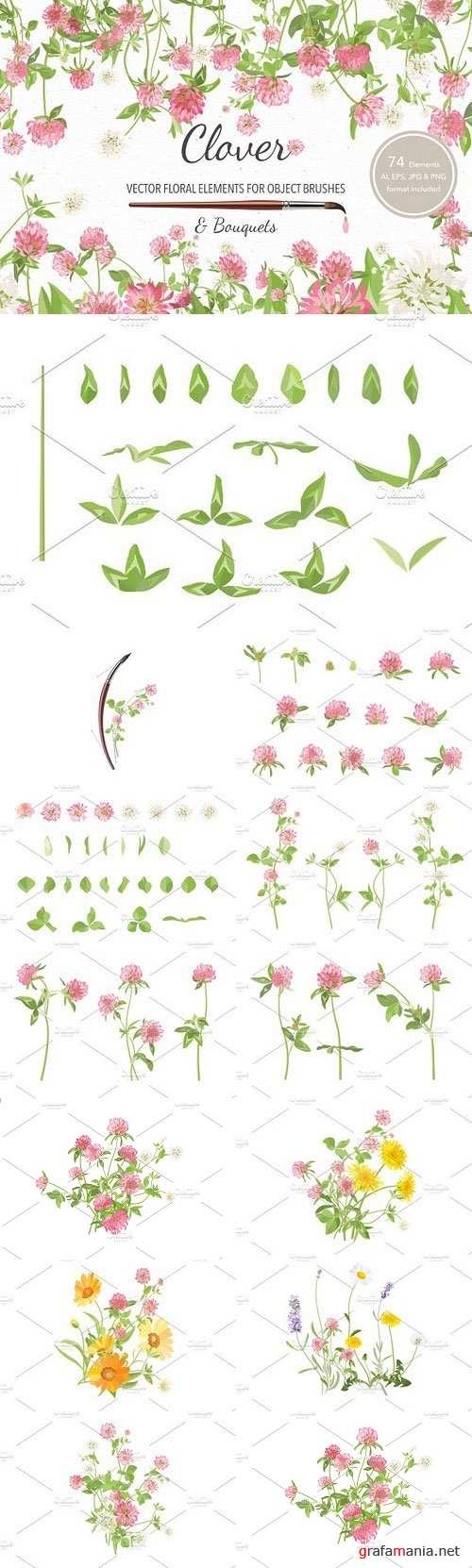 Vector object brushes. Clover - 1213174