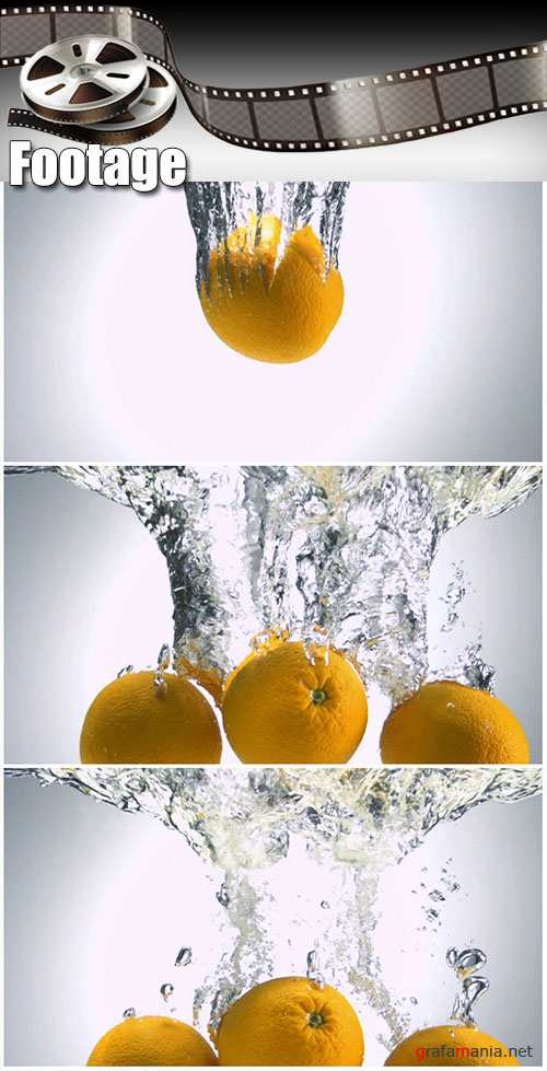 Video footage Fresh Fruit being shot as they submerged under water