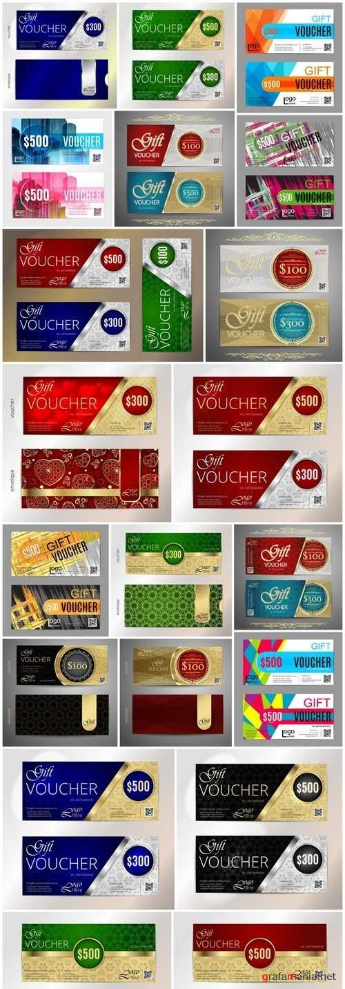 Collection of gift cards and vouchers 2 - 20xEPS Vector Stock