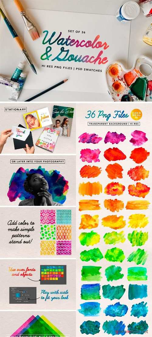 Watercolor & Gouache Textures - 1354848