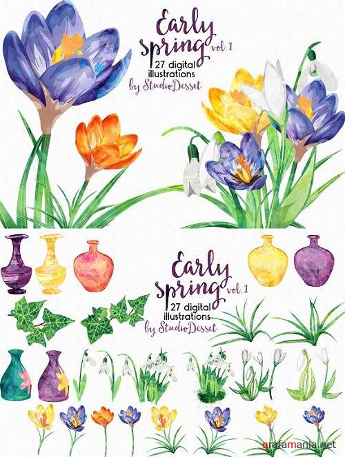 Watercolor Cliparts - Early Spring - 481472